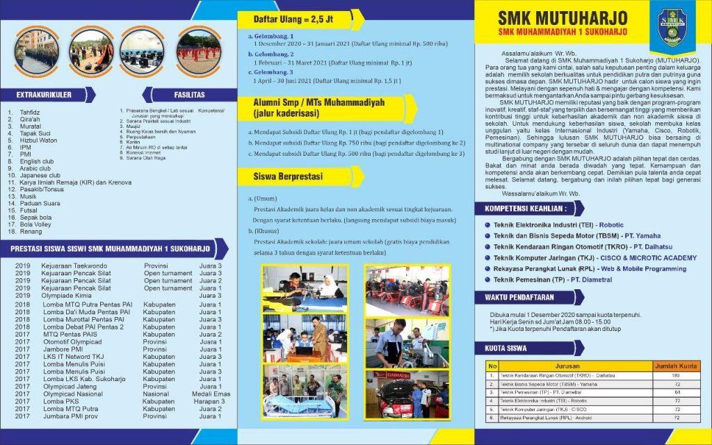 Brosur PPDB SMK Muhammadiyah 1 Sukoharjo Tahun Pelajaran 2021 / 2022